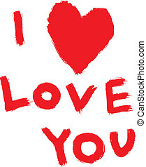 red inscription ''I love you'' with abstract heart