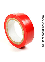 Red insulating tape isolated on white background.