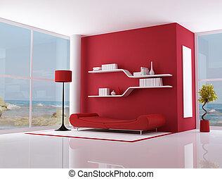 red interior of a beach villa