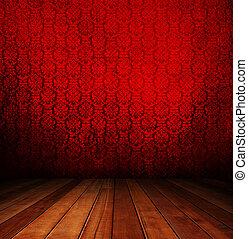 red interior room.