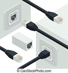 red, internet, datos, conectores