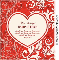 Red invitation card with heart