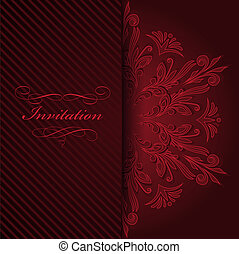 Red invitation with ornament