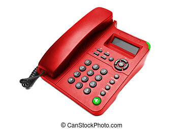 Red IP office phone isolated on white background