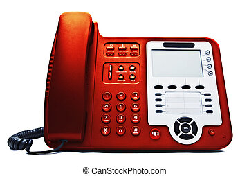 red IP phone closeup isolated on white background
