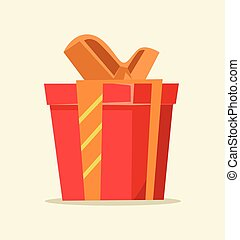 Red isolated gift box icon. Vector flat cartoon illustration