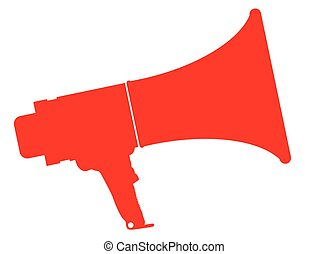 Red Isolated Megaphone