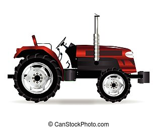 Red Isolated Tractor