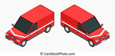 red isometric cars for cargo transportation stock vector image