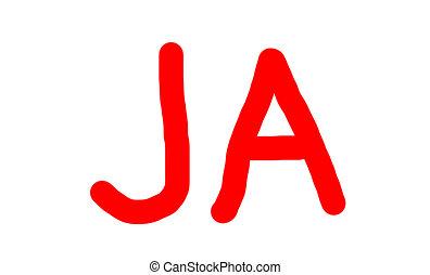 Red Ja Yes Word Ja Word Meaning Yes In German Written