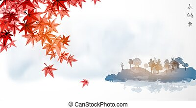 Red japanese maple leaves and far blue island with forest trees. Traditional Japanese ink wash painting sumi-e. Hiieroglyphs - eternity, freedom, happiness.