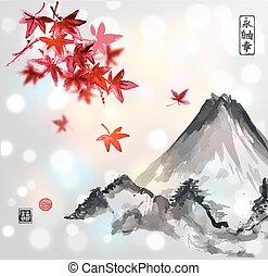 Red japanese maple tree and Fujiyama mountain