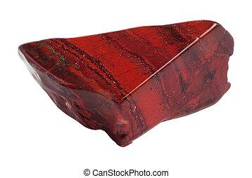 Red jasper stone - Red jasper raw piece isolated on white...