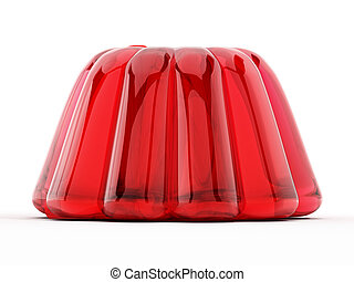 Red jelly isolated on white background. 3D illustration