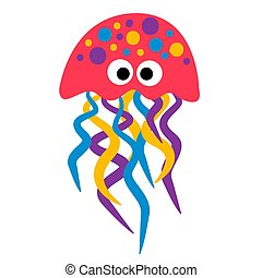 Red jellyfish illustration on white background