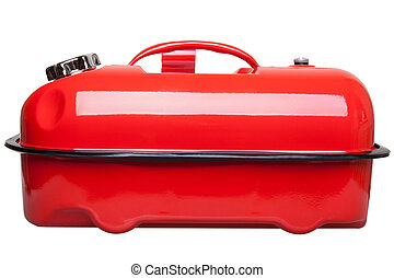 Red jerrycan - Red metal jerrycan isolated on white...