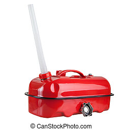 Red jerrycan - Red metal jerrycan with a plastic nozzle...