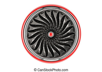 Red jet engine, front view. 3D rendering
