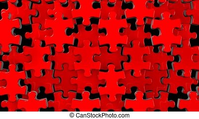 Red jigsaw puzzle on black background. 3DCG render...