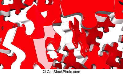 Red jigsaw puzzle on white background. 3DCG render...