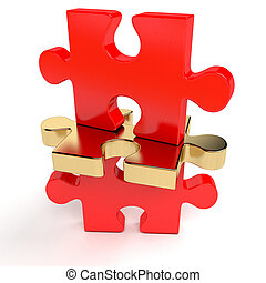 Red jigsaw puzzle with an outstanding golden piece - 3d render