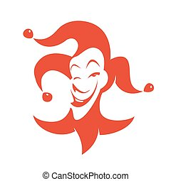 Red joker with a sly look and a smile. Vector hand drawn...