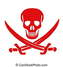 Red Jolly Roger skull and crossed swords Isolated on white...