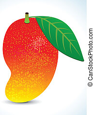 red juicy mango with leaf vector illustration