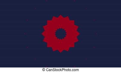Red kaleidoscope shapes on dark blue background