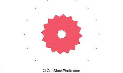 Red kaleidoscope shapes on white background
