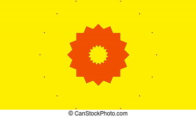 Red kaleidoscope shapes on yellow background