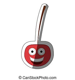 red kawaii happy cherry icon