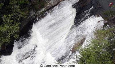 Red Kayak Runs Oceania - A red kayak tackles Oceania Falls ...