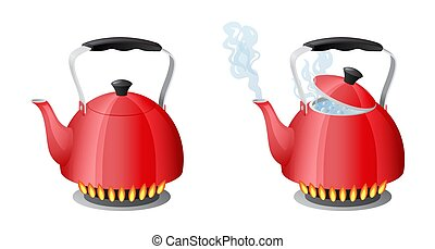 Red kettle with boiling water on kitchen stove flame