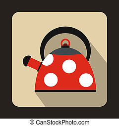 Red kettle with white dots icon, flat style