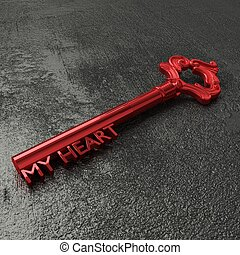 Red key to my heart on a black stone table