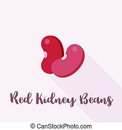 red kidney beans, flat icon with long shadow and name