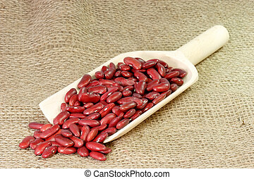 Red Kidney Beans on a wood Shovel