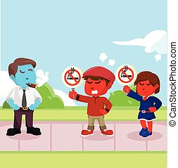 red Kids protesting against smoker