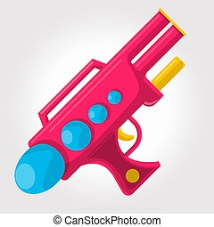 Red kids toy ,cosmic water gun on a white background.