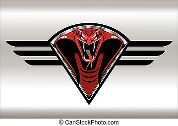 Red King Cobra on the silver metallic winged diamond shield
