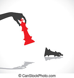 red king defeat by black knight stock vector