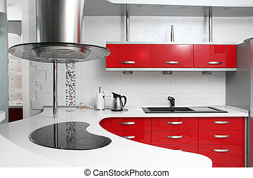 Interior red kitchen with metal