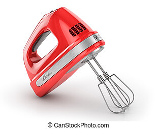 Red kitchen mixer. 3d illustration