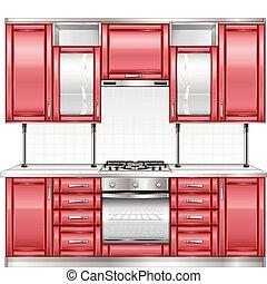 Red kitchen - Modern kitchen interior in red color, vector ...