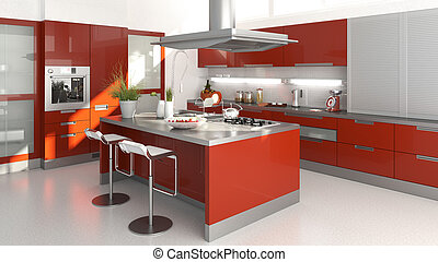 red kitchen - 3D render of a moder red kitchen
