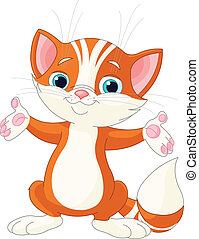Red Kitten raising his hands - Illustration of cute red...