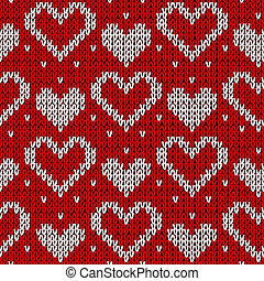 Red knitted background with hearts.