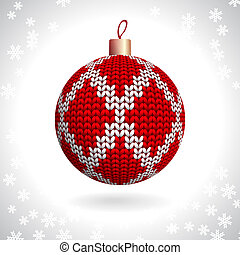 Knitted Christmas Ball - Red Knitted Christmas Ball on the...