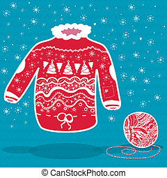 Red knitted christmas sweater and a ball of yarn on blue...